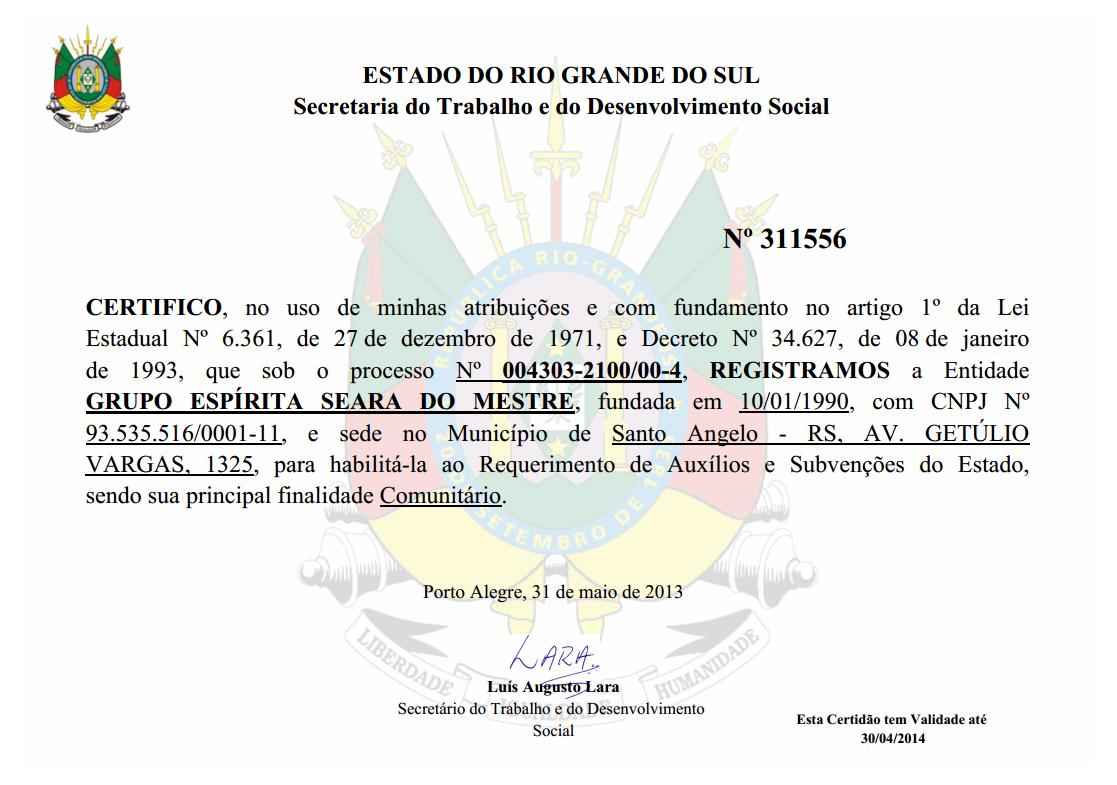 Certidão da Secretaria do Trabalho e do Desenvolvimento Social do Estado do Riogrande do Sul